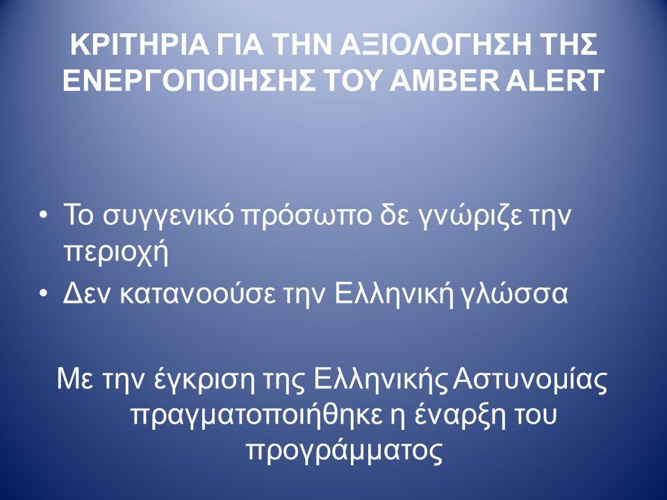 ΚΡΙΤΗΡΙΑ ΓΙΑ ΤΗΝ ΑΞΙΟΛΟΓΗΣΗ ΤΗΣ ΕΝΕΡΓΟΠΟΙΗΣΗΣ ΤΟΥ AMBER ALERT •Το συγγενικό πρόσωπο δε γνώριζε την περιοχή •Δεν κατανοούσε την Ελληνική γλώσσα Με την έγκριση της Ελληνικής Αστυνομίας πραγματοποιήθηκε η έναρξη του προγράμματος
