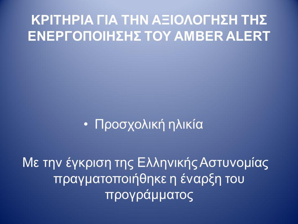 ΚΡΙΤΗΡΙΑ ΓΙΑ ΤΗΝ ΑΞΙΟΛΟΓΗΣΗ ΤΗΣ ΕΝΕΡΓΟΠΟΙΗΣΗΣ ΤΟΥ AMBER ALERT •Προσχολική ηλικία Με την έγκριση της Ελληνικής Αστυνομίας πραγματοποιήθηκε η έναρξη του προγράμματος