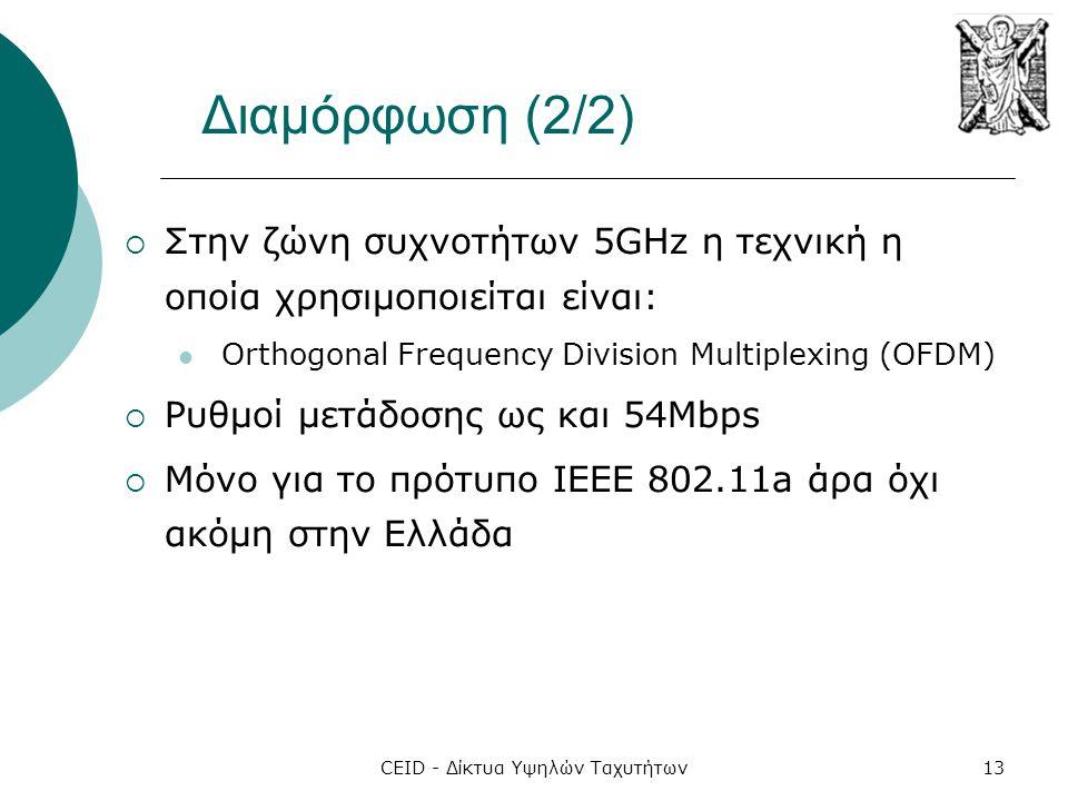 CEID - Δίκτυα Υψηλών Ταχυτήτων13 Διαμόρφωση (2/2)  Στην ζώνη συχνοτήτων 5GHz η τεχνική η οποία χρησιμοποιείται είναι:  Orthogonal Frequency Division