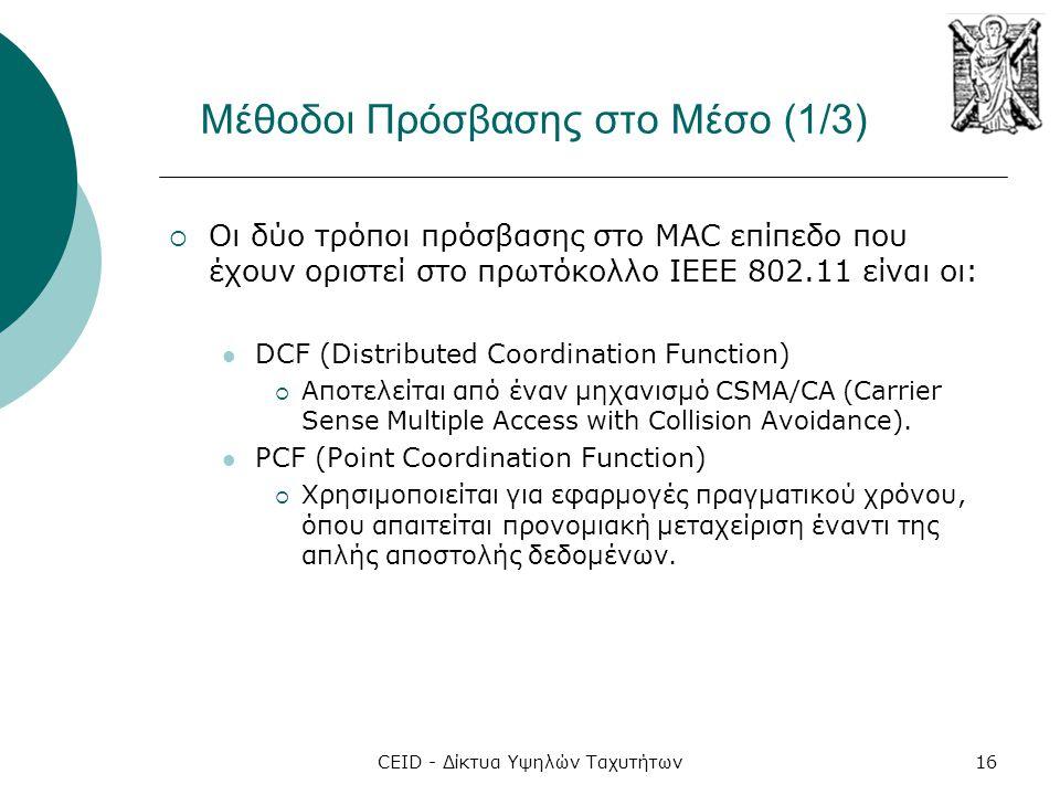 CEID - Δίκτυα Υψηλών Ταχυτήτων16 Μέθοδοι Πρόσβασης στο Μέσο (1/3)  Οι δύο τρόποι πρόσβασης στο MAC επίπεδο που έχουν οριστεί στο πρωτόκολλο IEEE 802.