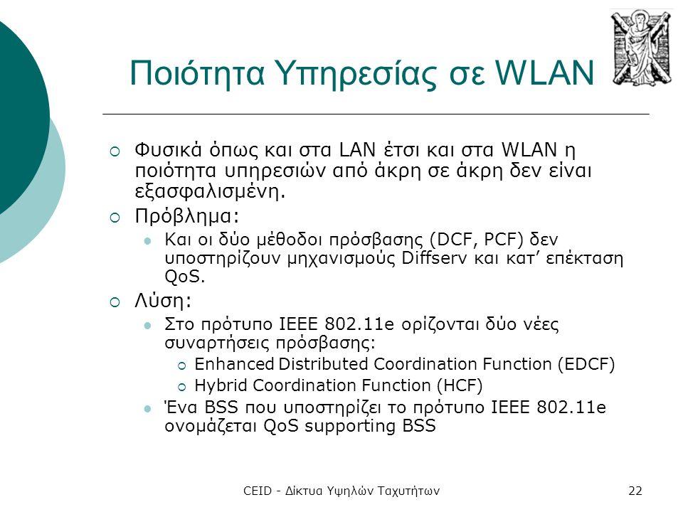 CEID - Δίκτυα Υψηλών Ταχυτήτων22 Ποιότητα Υπηρεσίας σε WLAN  Φυσικά όπως και στα LAN έτσι και στα WLAN η ποιότητα υπηρεσιών από άκρη σε άκρη δεν είνα