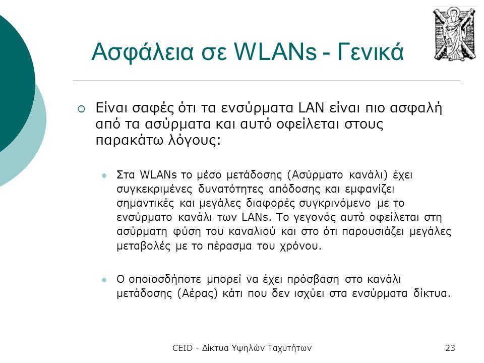 CEID - Δίκτυα Υψηλών Ταχυτήτων23 Ασφάλεια σε WLANs - Γενικά  Είναι σαφές ότι τα ενσύρματα LAN είναι πιο ασφαλή από τα ασύρματα και αυτό οφείλεται στο