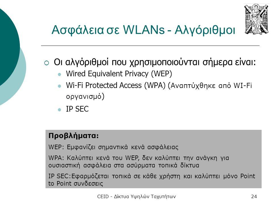 CEID - Δίκτυα Υψηλών Ταχυτήτων24 Ασφάλεια σε WLANs - Αλγόριθμοι  Οι αλγόριθμοί που χρησιμοποιούνται σήμερα είναι:  Wired Equivalent Privacy (WEP) 
