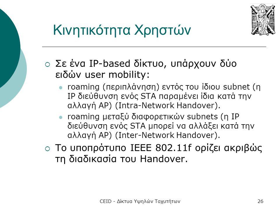 CEID - Δίκτυα Υψηλών Ταχυτήτων26 Κινητικότητα Χρηστών  Σε ένα IP-based δίκτυο, υπάρχουν δύο ειδών user mobility:  roaming (περιπλάνηση) εντός του ίδ