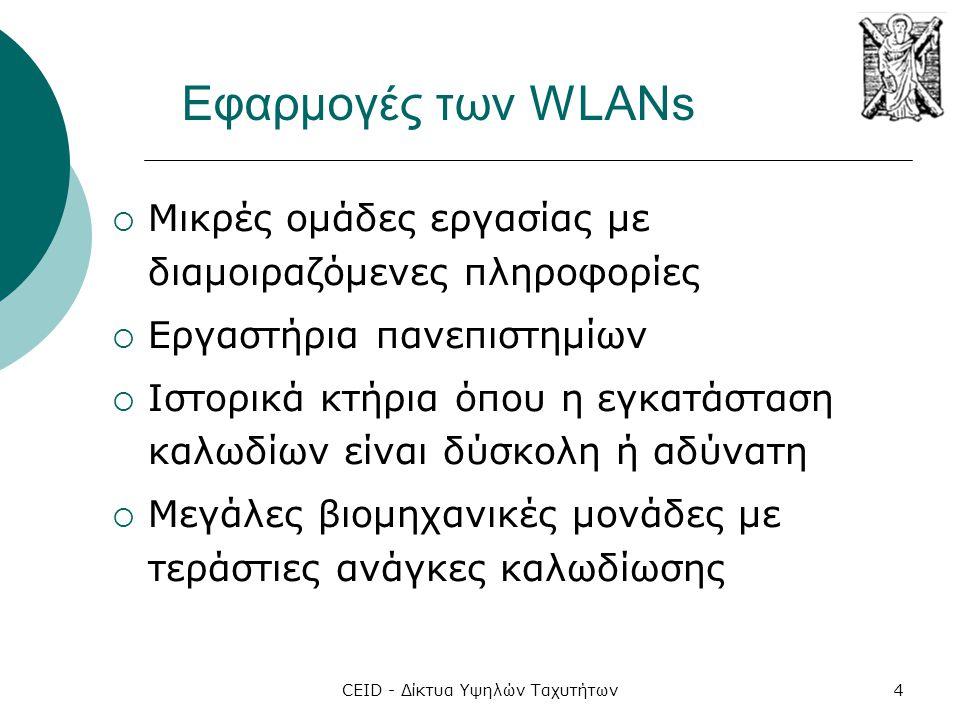 CEID - Δίκτυα Υψηλών Ταχυτήτων4 Εφαρμογές των WLANs  Μικρές ομάδες εργασίας με διαμοιραζόμενες πληροφορίες  Εργαστήρια πανεπιστημίων  Ιστορικά κτήρ