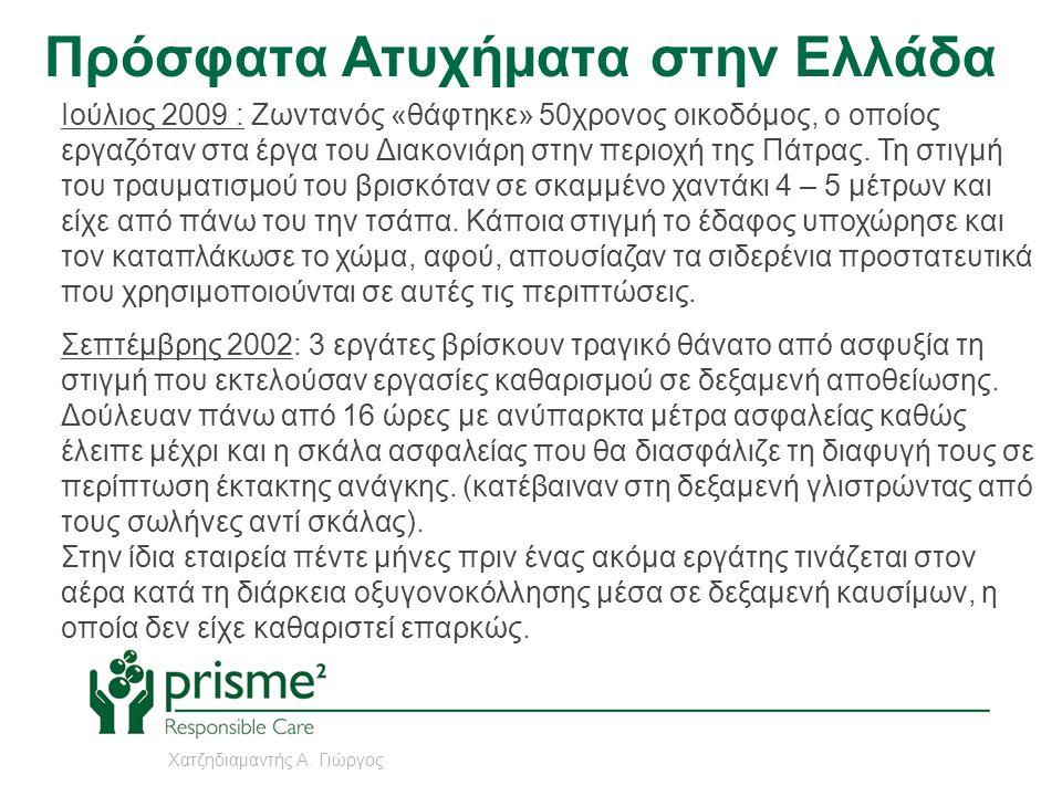Πρόσφατα Ατυχήματα στην Ελλάδα Ιούνιος 2002 : Ένας 45χρονος εργάτης βρήκε φριχτό θάνατο & άλλοι δύο τραυματίστηκαν σοβαρά, σε εργοστάσιο επεξεργασίας αγροτικών προϊόντων, στη Χάλκη Λάρισας, όταν κατέβηκαν να καθαρίσουν τον πυθμένα της υπόγειας δεξαμενής αποβλήτων, ύψους 3,5 μέτρων χωρίς μάσκες οξυγόνου και χωρίς κανένα άλλο μέτρο ασφαλείας.