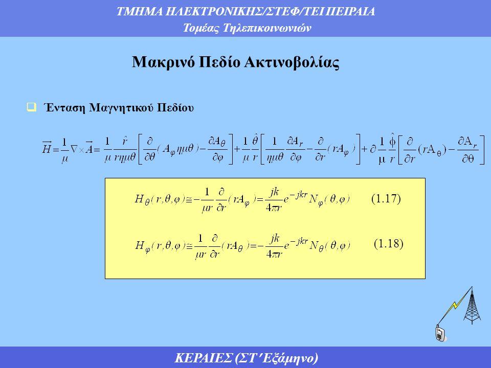 ΤΜΗΜΑ ΗΛΕΚΤΡΟΝΙΚΗΣ/ΣΤΕΦ/ΤΕΙ ΠΕΙΡΑΙΑ Τομέας Τηλεπικοινωνιών ΚΕΡΑΙΕΣ (ΣΤ Εξάμηνο)  Ένταση Μαγνητικού Πεδίου Μακρινό Πεδίο Ακτινοβολίας (1.17) (1.18)