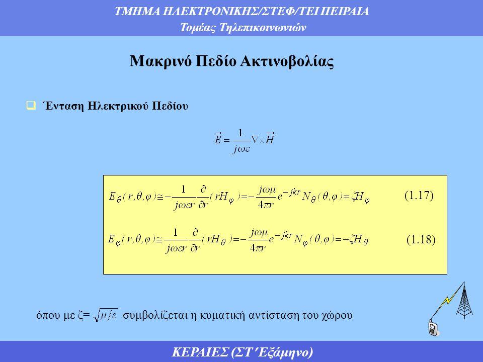 ΤΜΗΜΑ ΗΛΕΚΤΡΟΝΙΚΗΣ/ΣΤΕΦ/ΤΕΙ ΠΕΙΡΑΙΑ Τομέας Τηλεπικοινωνιών ΚΕΡΑΙΕΣ (ΣΤ Εξάμηνο)  Ένταση Ηλεκτρικού Πεδίου Μακρινό Πεδίο Ακτινοβολίας (1.17) (1.18) όπου με ζ= συμβολίζεται η κυματική αντίσταση του χώρου