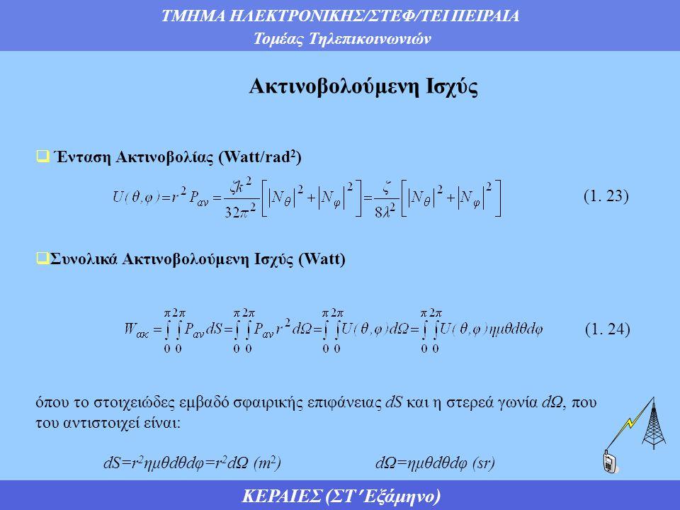 ΤΜΗΜΑ ΗΛΕΚΤΡΟΝΙΚΗΣ/ΣΤΕΦ/ΤΕΙ ΠΕΙΡΑΙΑ Τομέας Τηλεπικοινωνιών ΚΕΡΑΙΕΣ (ΣΤ Εξάμηνο) Ακτινοβολούμενη Ισχύς  Ένταση Ακτινοβολίας (Watt/rad 2 )  Συνολικά Ακτινοβολούμενη Ισχύς (Watt) όπου το στοιχειώδες εμβαδό σφαιρικής επιφάνειας dS και η στερεά γωνία dΩ, που του αντιστοιχεί είναι: dS=r 2 ημθdθdφ=r 2 dΩ (m 2 )dΩ=ημθdθdφ (sr) (1.
