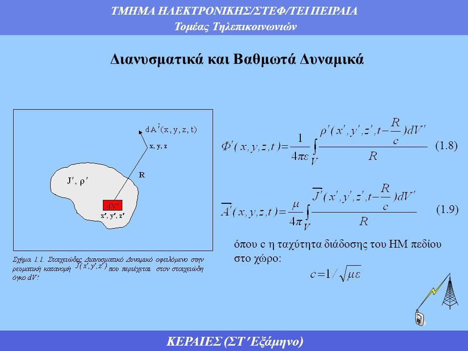ΤΜΗΜΑ ΗΛΕΚΤΡΟΝΙΚΗΣ/ΣΤΕΦ/ΤΕΙ ΠΕΙΡΑΙΑ Τομέας Τηλεπικοινωνιών ΚΕΡΑΙΕΣ (ΣΤ Εξάμηνο) Διανυσματικά και Βαθμωτά Δυναμικά όπου c η ταχύτητα διάδοσης του ΗΜ πεδίου στο χώρο: (1.8) (1.9)