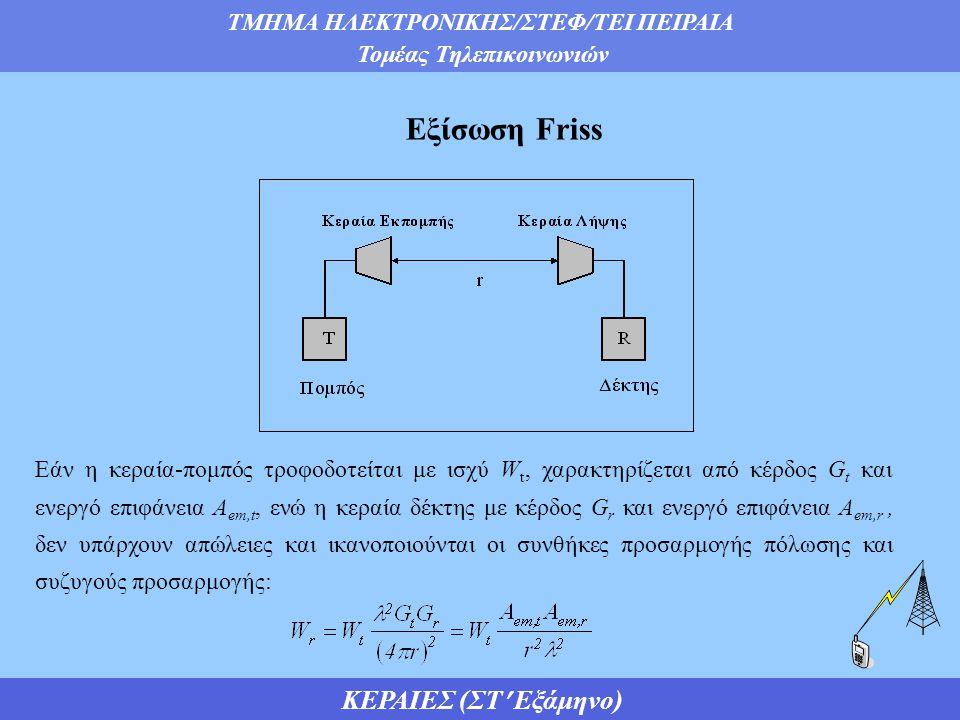 ΤΜΗΜΑ ΗΛΕΚΤΡΟΝΙΚΗΣ/ΣΤΕΦ/ΤΕΙ ΠΕΙΡΑΙΑ Τομέας Τηλεπικοινωνιών ΚΕΡΑΙΕΣ (ΣΤ Εξάμηνο) Εξίσωση Friss Εάν η κεραία-πομπός τροφοδοτείται με ισχύ W t, χαρακτηρίζεται από κέρδος G t και ενεργό επιφάνεια Α em,t, ενώ η κεραία δέκτης με κέρδος G r και ενεργό επιφάνεια Α em,r, δεν υπάρχουν απώλειες και ικανοποιούνται οι συνθήκες προσαρμογής πόλωσης και συζυγούς προσαρμογής: