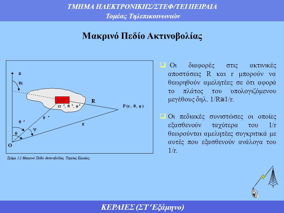 ΤΜΗΜΑ ΗΛΕΚΤΡΟΝΙΚΗΣ/ΣΤΕΦ/ΤΕΙ ΠΕΙΡΑΙΑ Τομέας Τηλεπικοινωνιών ΚΕΡΑΙΕΣ (ΣΤ Εξάμηνο)  Οι διαφορές στις ακτινικές αποστάσεις R και r μπορούν να θεωρηθούν αμελητέες σε ότι αφορά το πλάτος του υπολογιζόμενου μεγέθους δηλ.