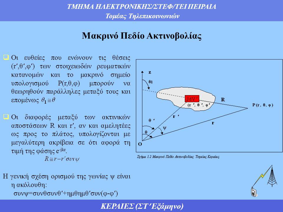 ΤΜΗΜΑ ΗΛΕΚΤΡΟΝΙΚΗΣ/ΣΤΕΦ/ΤΕΙ ΠΕΙΡΑΙΑ Τομέας Τηλεπικοινωνιών ΚΕΡΑΙΕΣ (ΣΤ Εξάμηνο)  Οι ευθείες που ενώνουν τις θέσεις (r,θ,φ) των στοιχειωδών ρευματικών κατανομών και το μακρινό σημείο υπολογισμού Ρ(r,θ,φ) μπορούν να θεωρηθούν παράλληλες μεταξύ τους και επομένως  Οι διαφορές μεταξύ των ακτινικών αποστάσεων R και r, αν και αμελητέες ως προς το πλάτος, υπολογίζονται με μεγαλύτερη ακρίβεια σε ότι αφορά τη τιμή της φάσης e -jkr.