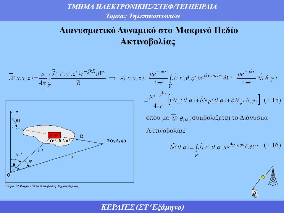 ΤΜΗΜΑ ΗΛΕΚΤΡΟΝΙΚΗΣ/ΣΤΕΦ/ΤΕΙ ΠΕΙΡΑΙΑ Τομέας Τηλεπικοινωνιών ΚΕΡΑΙΕΣ (ΣΤ Εξάμηνο) όπου με συμβολίζεται το Διάνυσμα Ακτινοβολίας Διανυσματικό Δυναμικό στο Μακρινό Πεδίο Ακτινοβολίας  (1.15) (1.16)