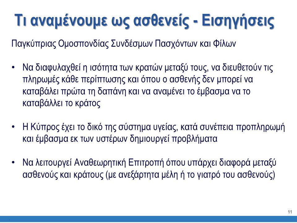 Τι αναμένουμε ως ασθενείς - Εισηγήσεις. Παγκύπριας Ομοσπονδίας Συνδέσμων Πασχόντων και Φίλων • Να διαφυλαχθεί η ισότητα των κρατών μεταξύ τους, να διε