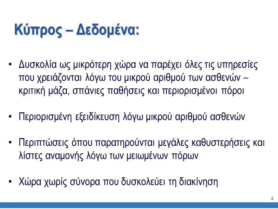 Κύπρος – Δεδομένα:. • Δυσκολία ως μικρότερη χώρα να παρέχει όλες τις υπηρεσίες που χρειάζονται λόγω του μικρού αριθμού των ασθενών – κριτική μάζα, σπά