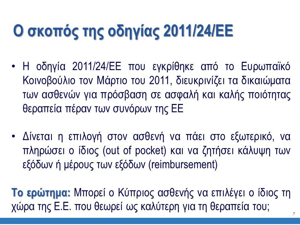Ο σκοπός της οδηγίας 2011/24/ΕΕ. • Η οδηγία 2011/24/ΕΕ που εγκρίθηκε από το Ευρωπαϊκό Κοινοβούλιο τον Μάρτιο του 2011, διευκρινίζει τα δικαιώματα των