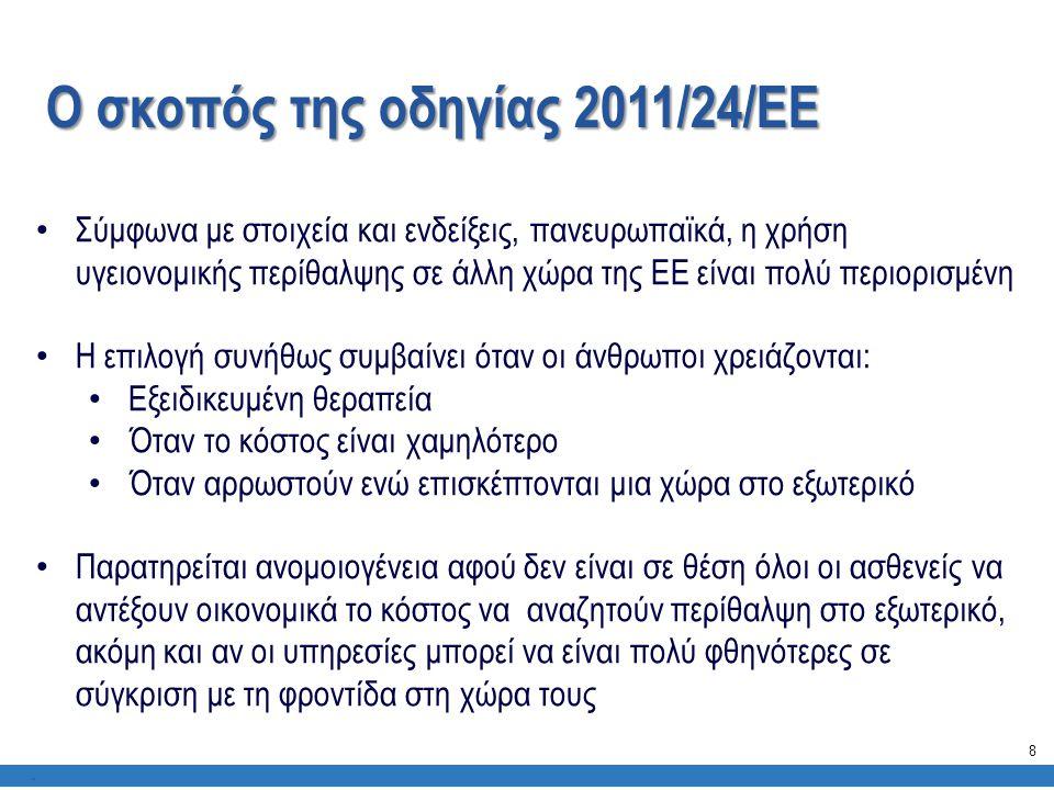 Ο σκοπός της οδηγίας 2011/24/ΕΕ. • Σύμφωνα με στοιχεία και ενδείξεις, πανευρωπαϊκά, η χρήση υγειονομικής περίθαλψης σε άλλη χώρα της ΕΕ είναι πολύ περ