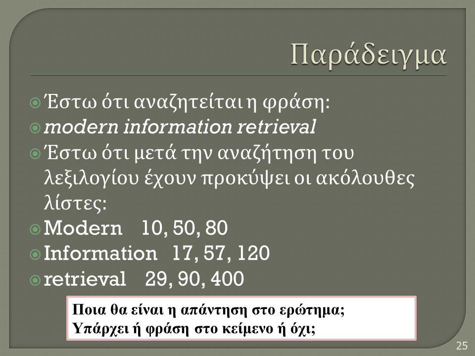  Έστω ότι αναζητείται η φράση :  modern information retrieval  Έστω ότι μετά την αναζήτηση του λεξιλογίου έχουν προκύψει οι ακόλουθες λίστες :  Mo
