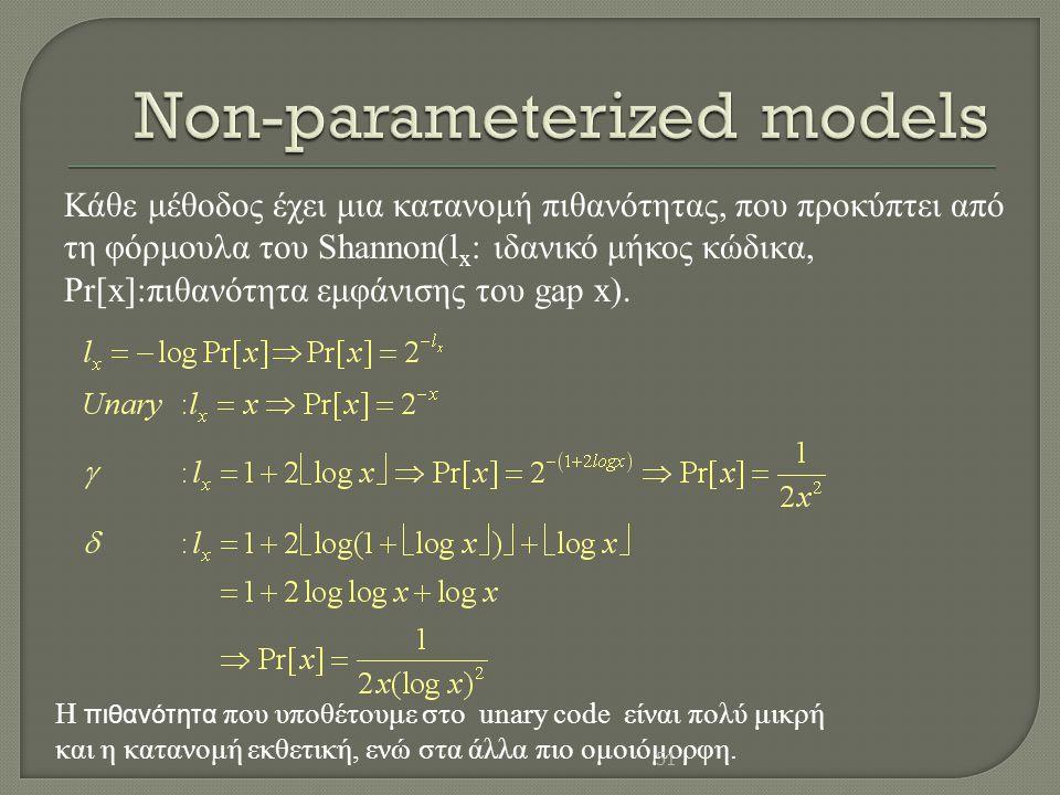 Κάθε μέθοδος έχει μια κατανομή πιθανότητας, που προκύπτει από τη φόρμουλα του Shannon(l x : ιδανικό μήκος κώδικα, Pr[x]:πιθανότητα εμφάνισης του gap x