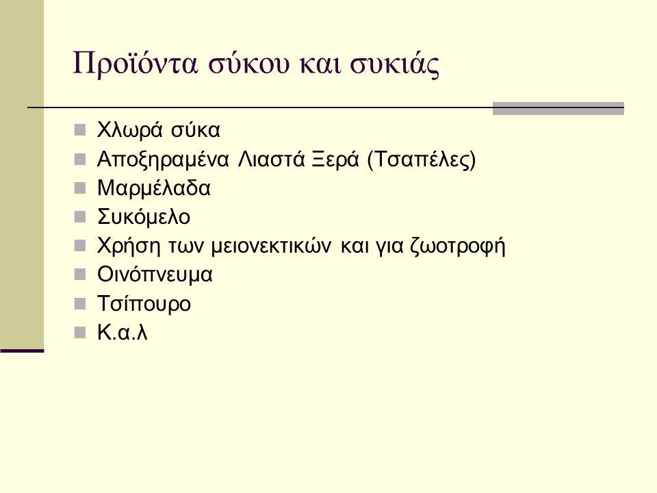 Προϊόντα σύκου και συκιάς  Χλωρά σύκα  Αποξηραμένα Λιαστά Ξερά (Τσαπέλες)  Μαρμέλαδα  Συκόμελο  Χρήση των μειονεκτικών και για ζωοτροφή  Οινόπνευμα  Τσίπουρο  Κ.α.λ