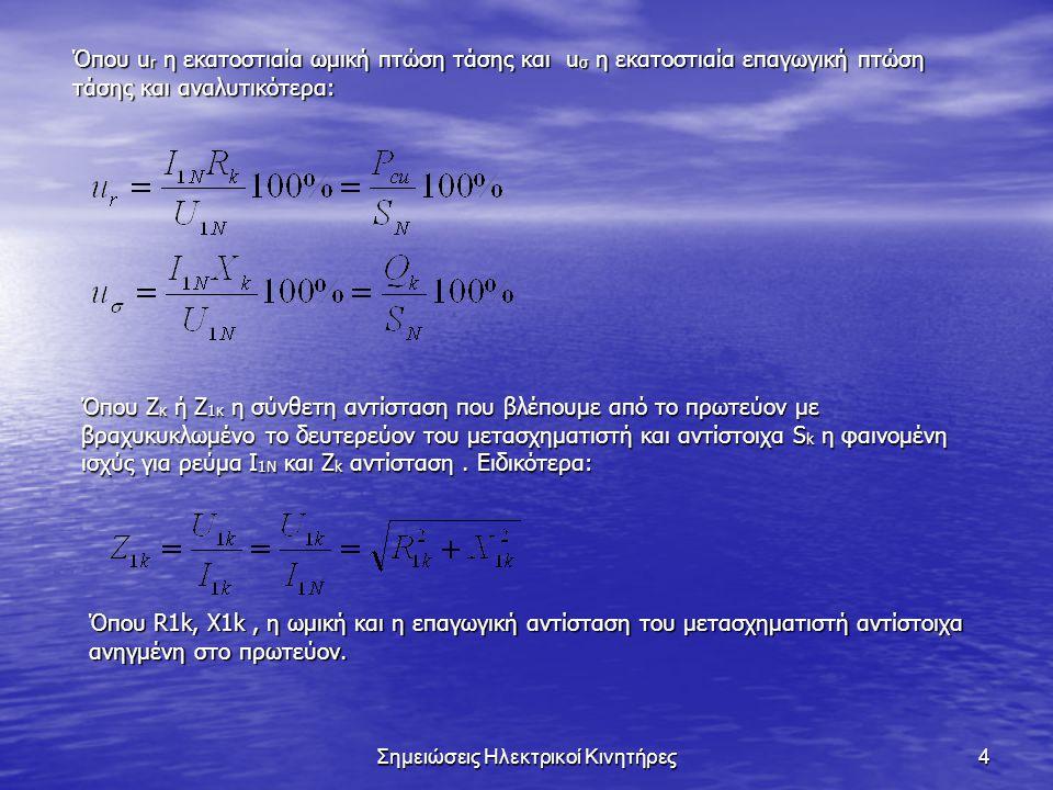 Σημειώσεις Ηλεκτρικοί Κινητήρες4 Όπου u r η εκατοστιαία ωμική πτώση τάσης και u σ η εκατοστιαία επαγωγική πτώση τάσης και αναλυτικότερα: Όπου Ζ κ ή Ζ 1κ η σύνθετη αντίσταση που βλέπουμε από το πρωτεύον με βραχυκυκλωμένο το δευτερεύον του μετασχηματιστή και αντίστοιχα S k η φαινομένη ισχύς για ρεύμα I 1N και Z k αντίσταση.