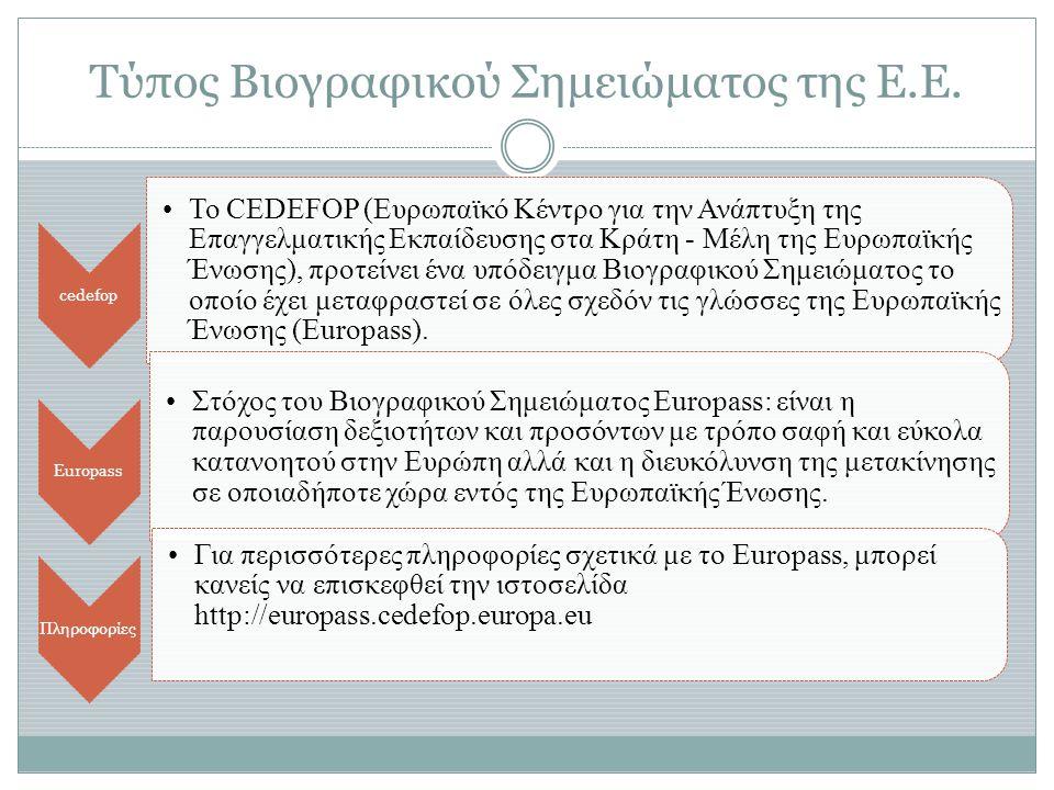 Τύπος Βιογραφικού Σημειώματος της Ε.Ε. cedefop •Το CEDEFOP (Ευρωπαϊκό Κέντρο για την Ανάπτυξη της Επαγγελματικής Εκπαίδευσης στα Κράτη - Μέλη της Ευρω