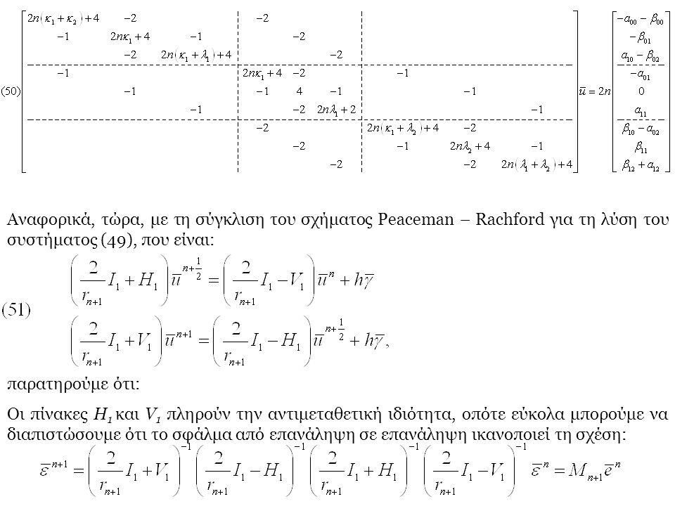 Αναφορικά, τώρα, με τη σύγκλιση του σχήματος Peaceman – Rachford για τη λύση του συστήματος (49), που είναι: παρατηρούμε ότι: Οι πίνακες H 1 και V 1 π