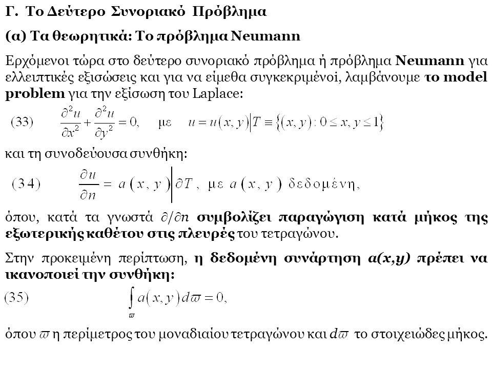 Γ. Το Δεύτερο Συνοριακό Πρόβλημα (α) Τα θεωρητικά: Το πρόβλημα Neumann Ερχόμενοι τώρα στο δεύτερο συνοριακό πρόβλημα ή πρόβλημα Neumann για ελλειπτικέ