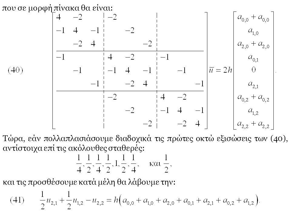 που σε μορφή πίνακα θα είναι: Τώρα, εάν πολλαπλασιάσουμε διαδοχικά τις πρώτες οκτώ εξισώσεις των (40), αντίστοιχα επί τις ακόλουθες σταθερές: και τις