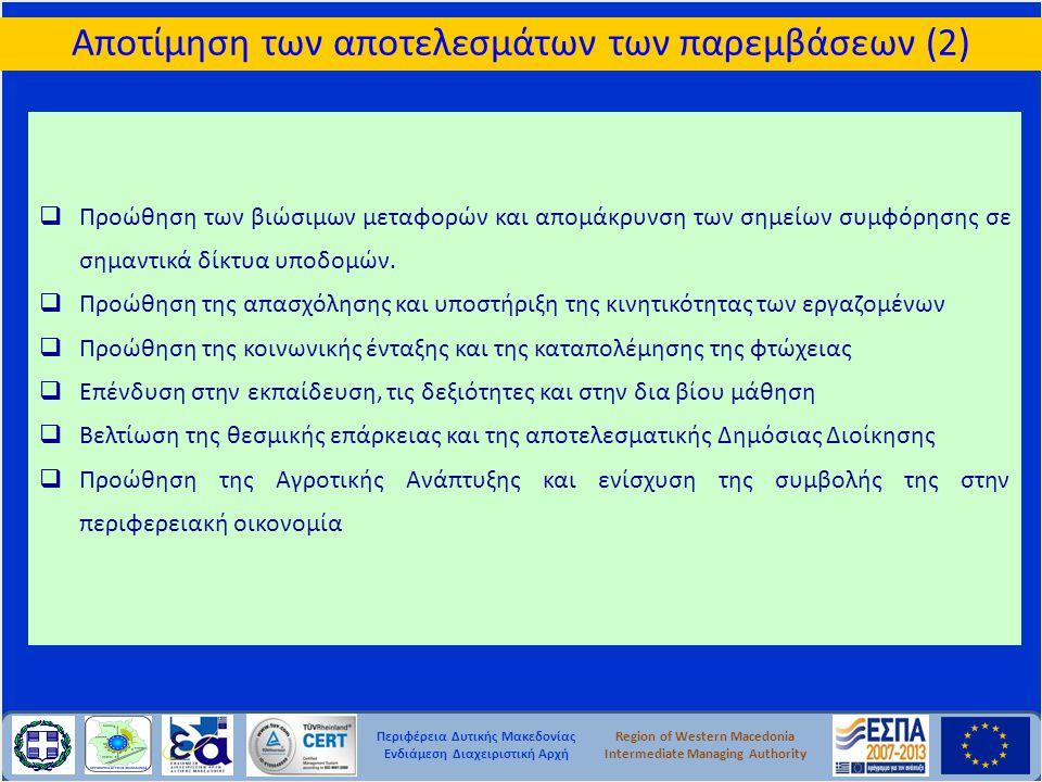 Περιφέρεια Δυτικής Μακεδονίας Ενδιάμεση Διαχειριστική Αρχή Region of Western Macedonia Intermediate Managing Authority  Προώθηση των βιώσιμων μεταφορ