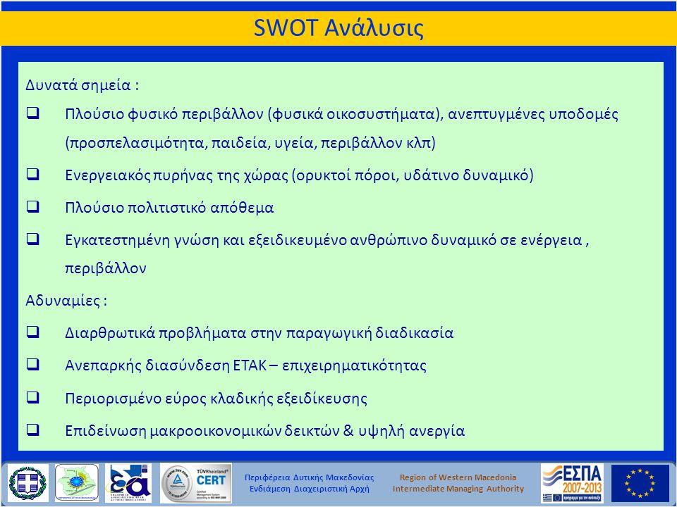 Περιφέρεια Δυτικής Μακεδονίας Ενδιάμεση Διαχειριστική Αρχή Region of Western Macedonia Intermediate Managing Authority Δυνατά σημεία :  Πλούσιο φυσικ