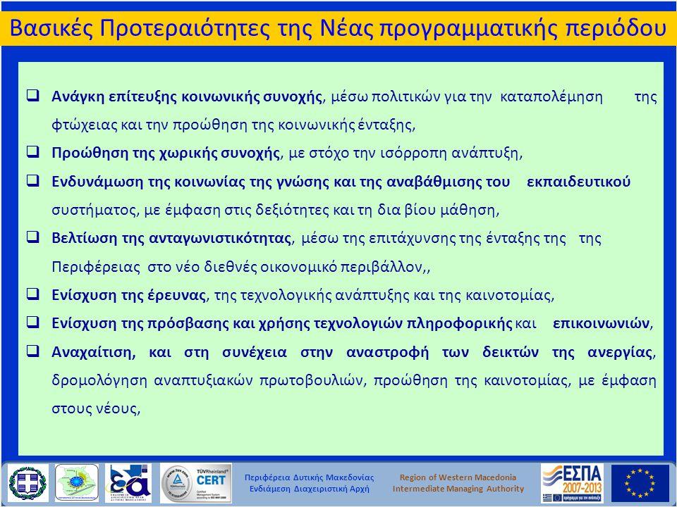 Περιφέρεια Δυτικής Μακεδονίας Ενδιάμεση Διαχειριστική Αρχή Region of Western Macedonia Intermediate Managing Authority  Ανάγκη επίτευξης κοινωνικής σ