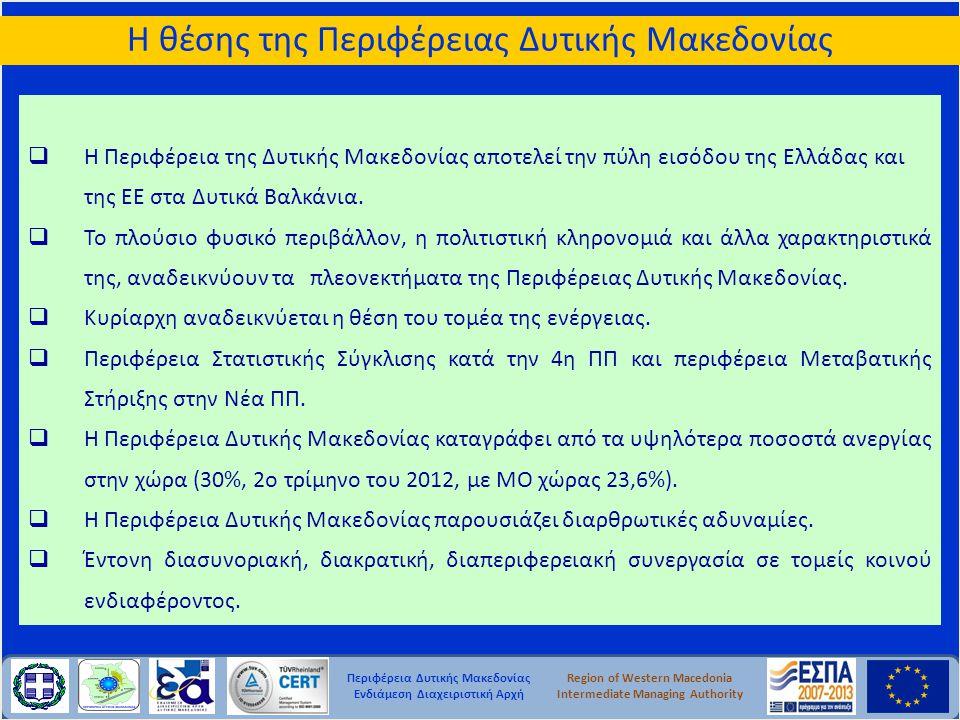 Περιφέρεια Δυτικής Μακεδονίας Ενδιάμεση Διαχειριστική Αρχή Region of Western Macedonia Intermediate Managing Authority  Η Περιφέρεια της Δυτικής Μακε