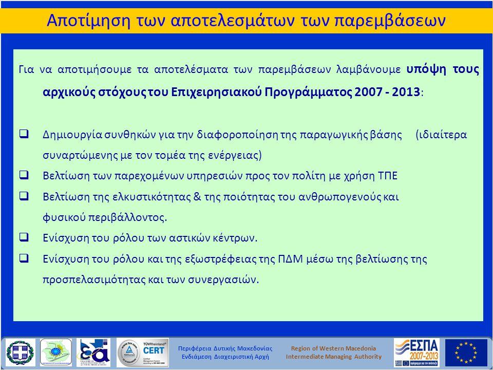 Περιφέρεια Δυτικής Μακεδονίας Ενδιάμεση Διαχειριστική Αρχή Region of Western Macedonia Intermediate Managing Authority Αποτίμηση των αποτελεσμάτων των