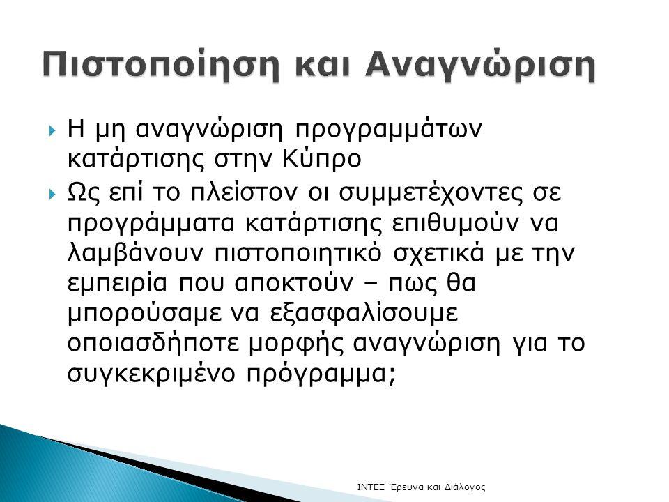  Η μη αναγνώριση προγραμμάτων κατάρτισης στην Κύπρο  Ως επί το πλείστον οι συμμετέχοντες σε προγράμματα κατάρτισης επιθυμούν να λαμβάνουν πιστοποιητικό σχετικά με την εμπειρία που αποκτούν – πως θα μπορούσαμε να εξασφαλίσουμε οποιασδήποτε μορφής αναγνώριση για το συγκεκριμένο πρόγραμμα; ΙΝΤΕΞ Έρευνα και Διάλογος