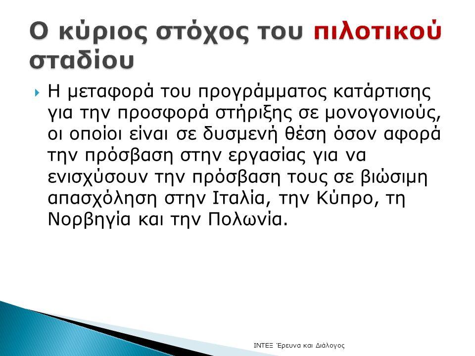  Η μεταφορά του προγράμματος κατάρτισης για την προσφορά στήριξης σε μονογονιούς, οι οποίοι είναι σε δυσμενή θέση όσον αφορά την πρόσβαση στην εργασίας για να ενισχύσουν την πρόσβαση τους σε βιώσιμη απασχόληση στην Ιταλία, την Κύπρο, τη Νορβηγία και την Πολωνία.