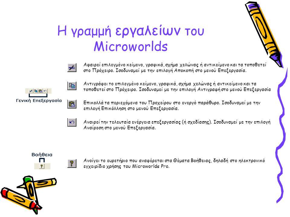 Η γραμμή εργαλείων του Microworlds Αφαιρεί επιλεγμένο κείμενο, γραφικά, σχήμα χελώνας ή αντικείμενο και τα τοποθετεί στο Πρόχειρο. Ισοδυναμεί με την ε