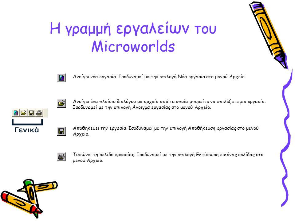 Η γραμμή εργαλείων του Microworlds Ανοίγει νέα εργασία. Ισοδυναμεί με την επιλογή Nέα εργασία στο μενού Αρχείο. Ανοίγει ένα πλαίσιο διαλόγου με αρχεία