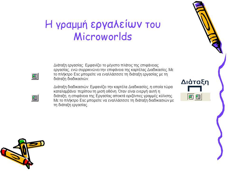 Η γραμμή εργαλείων του Microworlds Διάταξη εργασίας: Εμφανίζει το μέγιστο πλάτος της επιφάνειας εργασίας, ενώ συρρικνώνει την επιφάνεια της καρτέλας Δ