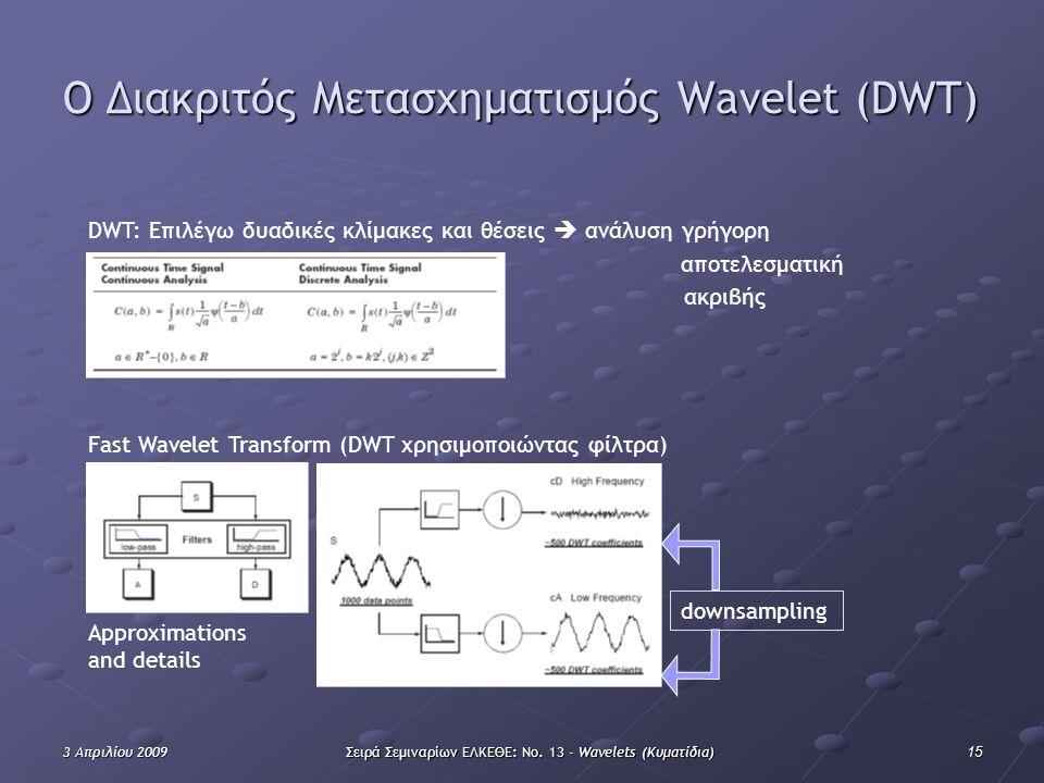 153 Απριλίου 2009Σειρά Σεμιναρίων ΕΛΚΕΘΕ: Νο. 13 - Wavelets (Κυματίδια) Ο Διακριτός Mετασχηματισμός Wavelet (DWT) Approximations and details Fast Wave