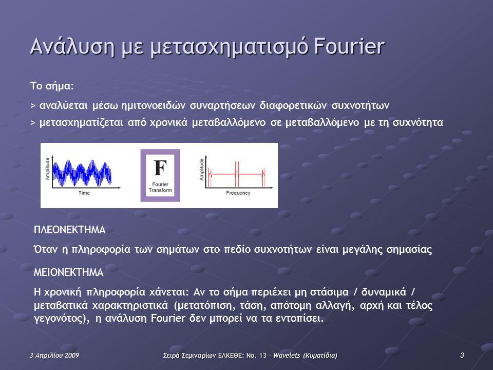 33 Απριλίου 2009Σειρά Σεμιναρίων ΕΛΚΕΘΕ: Νο. 13 - Wavelets (Κυματίδια) Ανάλυση με μετασχηματισμό Fourier Το σήμα: > αναλύεται μέσω ημιτονοειδών συναρτ