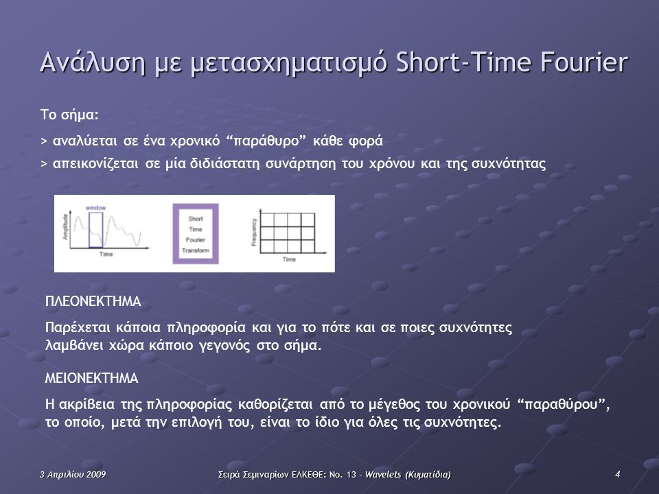 43 Απριλίου 2009Σειρά Σεμιναρίων ΕΛΚΕΘΕ: Νο. 13 - Wavelets (Κυματίδια) Ανάλυση με μετασχηματισμό Short-Time Fourier Το σήμα: > αναλύεται σε ένα χρονικ