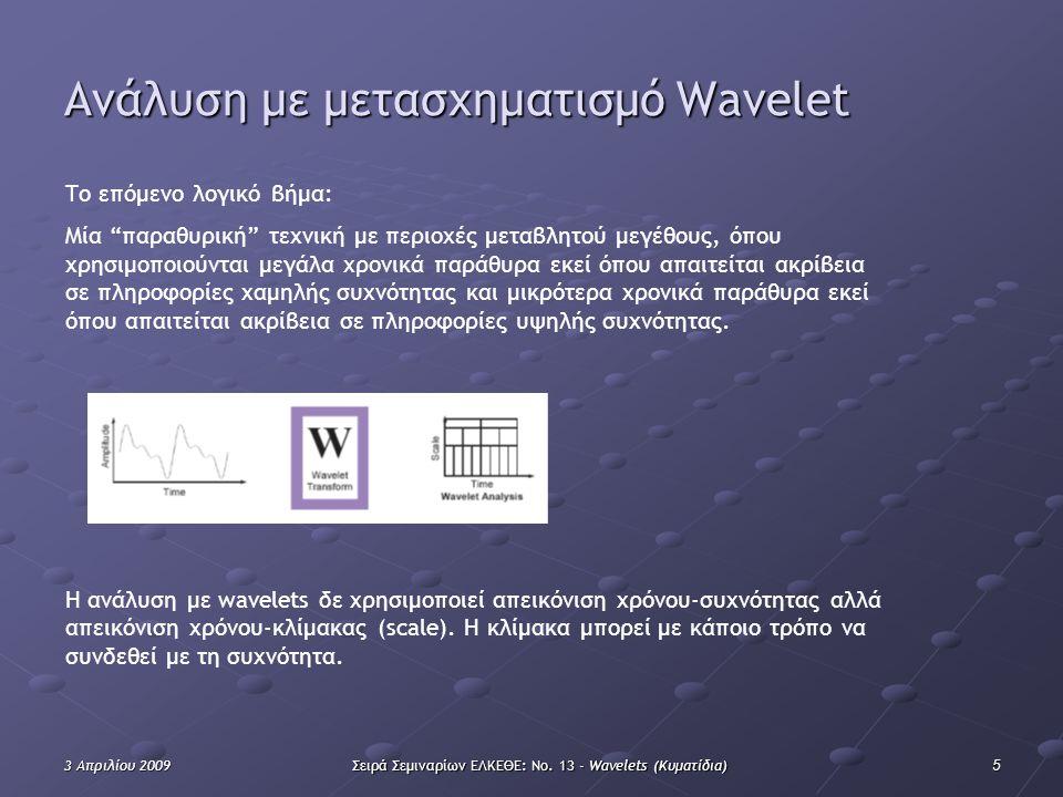 """53 Απριλίου 2009Σειρά Σεμιναρίων ΕΛΚΕΘΕ: Νο. 13 - Wavelets (Κυματίδια) Ανάλυση με μετασχηματισμό Wavelet Το επόμενο λογικό βήμα: Μία """"παραθυρική"""" τεχν"""