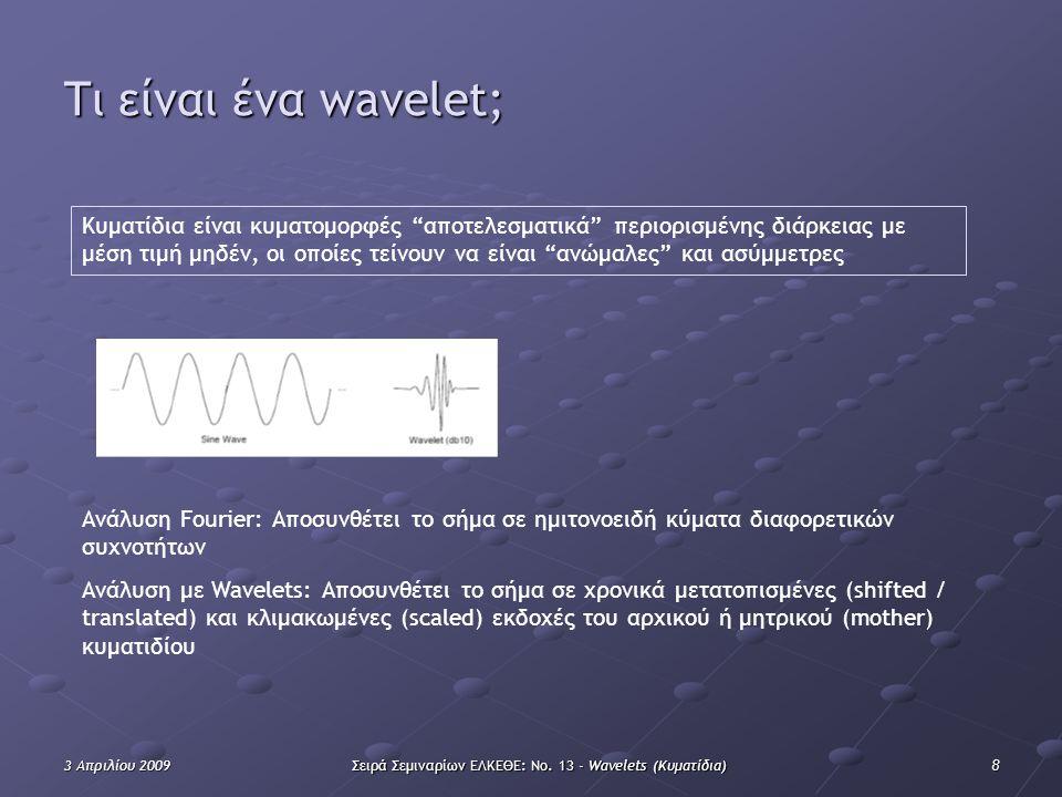 """83 Απριλίου 2009Σειρά Σεμιναρίων ΕΛΚΕΘΕ: Νο. 13 - Wavelets (Κυματίδια) Τι είναι ένα wavelet; Κυματίδια είναι κυματομορφές """"αποτελεσματικά"""" περιορισμέν"""