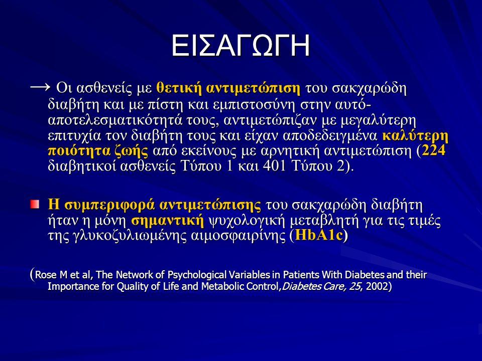 ΕΙΣΑΓΩΓΗ → Οι ασθενείς με θετική αντιμετώπιση του σακχαρώδη διαβήτη και με πίστη και εμπιστοσύνη στην αυτό- αποτελεσματικότητά τους, αντιμετώπιζαν με