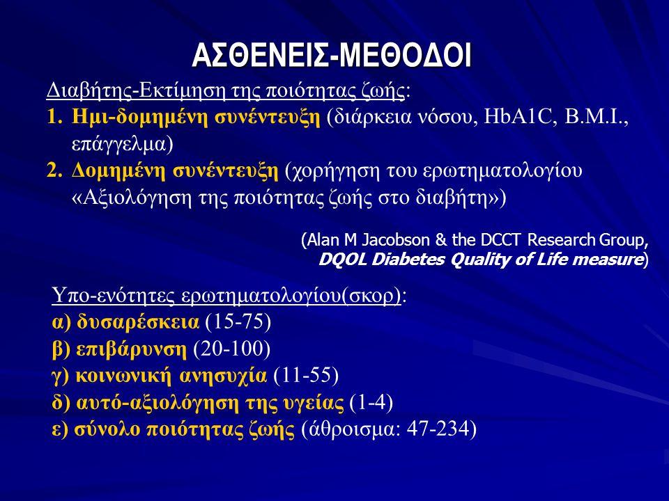 ΑΣΘΕΝΕΙΣ-ΜΕΘΟΔΟΙ Διαβήτης-Εκτίμηση της ποιότητας ζωής: 1.Ημι-δομημένη συνέντευξη (διάρκεια νόσου, HbA1C, B.M.I., επάγγελμα) 2.Δομημένη συνέντευξη (χορ