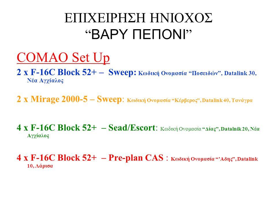 ΕΠΙΧΕΙΡΗΣΗ ΗΝΙΟΧΟΣ ΒΑΡΥ ΠΕΠΟΝΙ Pre-plan CAS Κωδική Ονομασία: Άδης Datalink: 10 Αεροσκάφη : 4x F-16C Block 52+ Οπλισμός: 2x Iris T, 4x AGM-154A JSOW, ALQ-131, 2x 370 Gal Tank, 300 Gal Tank Αεροπορική Βάση: Λάρισα