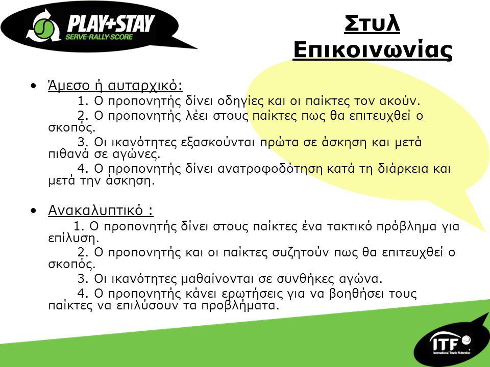 Στυλ Επικοινωνίας •Άμεσο ή αυταρχικό: 1. Ο προπονητής δίνει οδηγίες και οι παίκτες τον ακούν. 2. Ο προπονητής λέει στους παίκτες πως θα επιτευχθεί ο σ