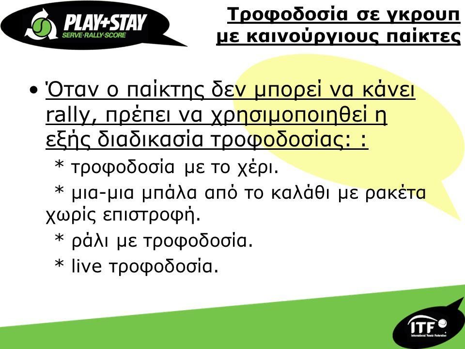 Τροφοδοσία σε γκρουπ με καινούργιους παίκτες •Όταν ο παίκτης δεν μπορεί να κάνει rally, πρέπει να χρησιμοποιηθεί η εξής διαδικασία τροφοδοσίας: : * τρ